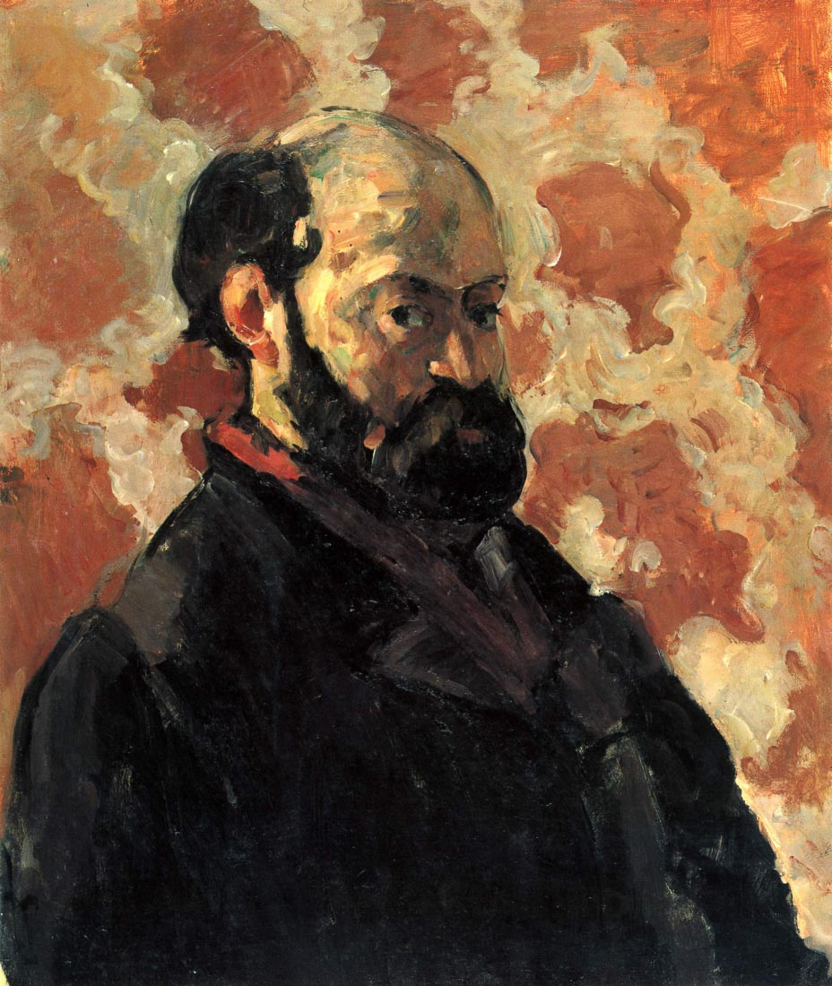 Self-portrait before Rose Background - Cezanne