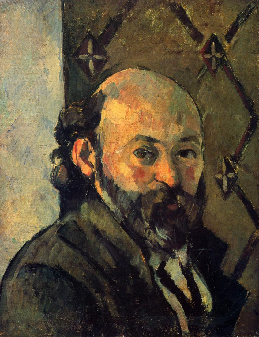 Self-portrait in front of wallpaper - Cezanne