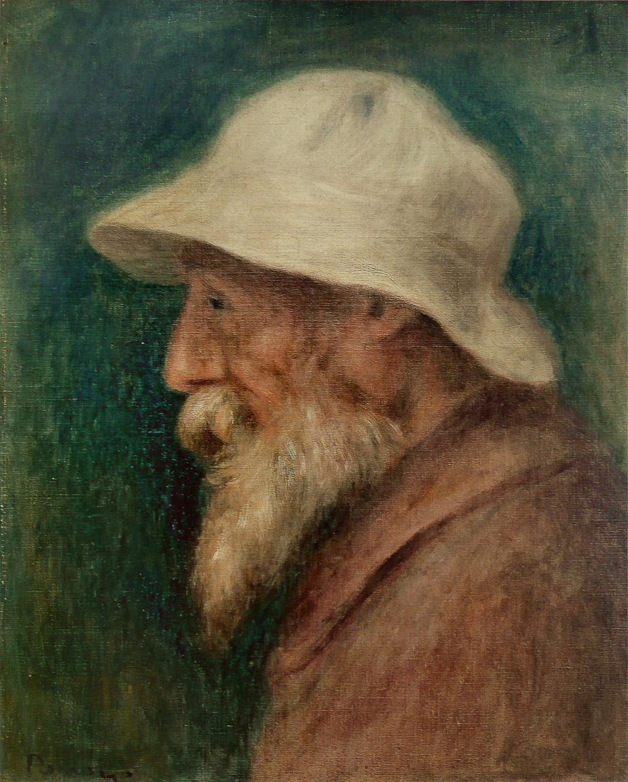 Selfportrait with white hat - Renoir