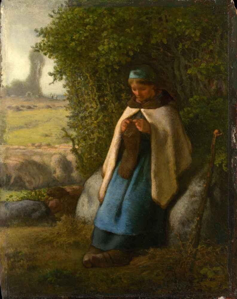 Shepherdess Seated on a Rock - Jean Francois Millet
