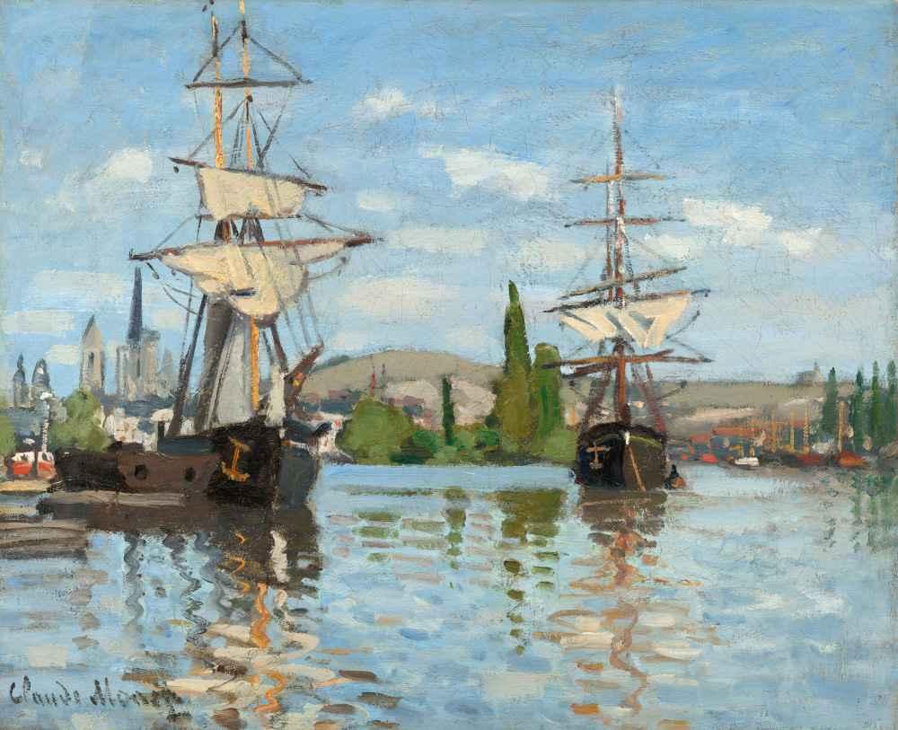 Ships Riding on the Seine at Rouen - Claude Monet