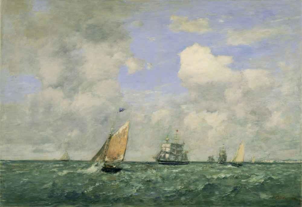 Ships and Sailing Boats Leaving Le Havre, 1887 - Eugene Boudin