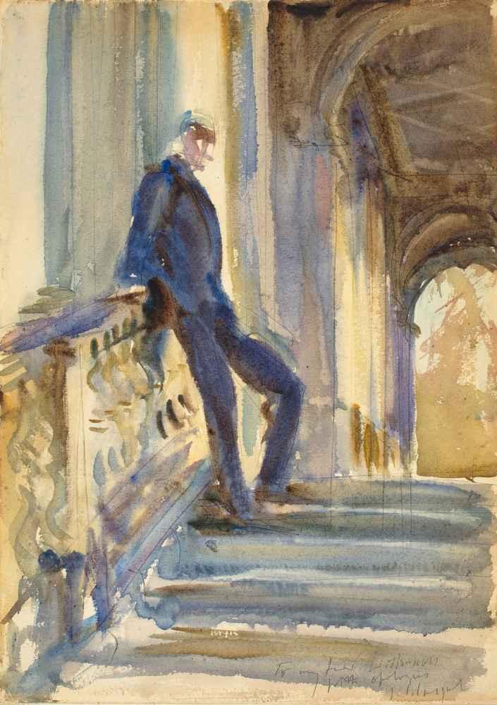 Sir Neville Wilkinson on the Steps of the Palladian Bridge at Wilton H