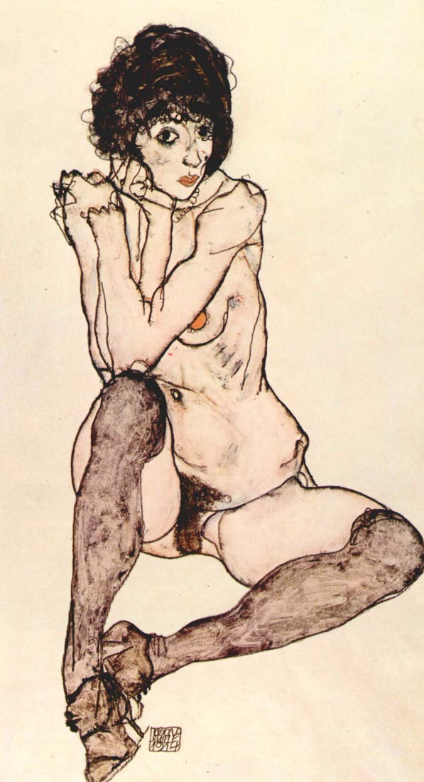 Sitting female nude - Schiele