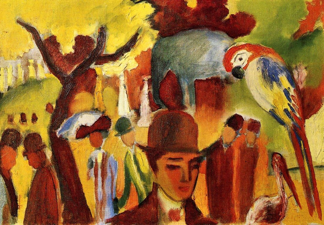 Small Zoological Garden in brown and yellow - August Macke