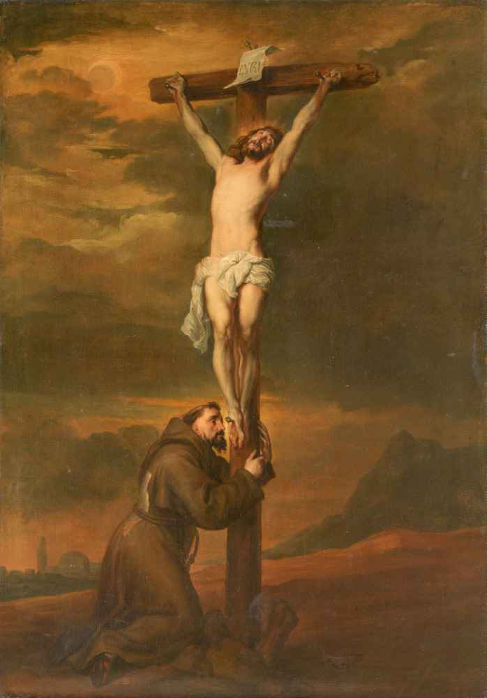 St Francis Lamenting at the Foot of the Cross - Antoon van Dyck