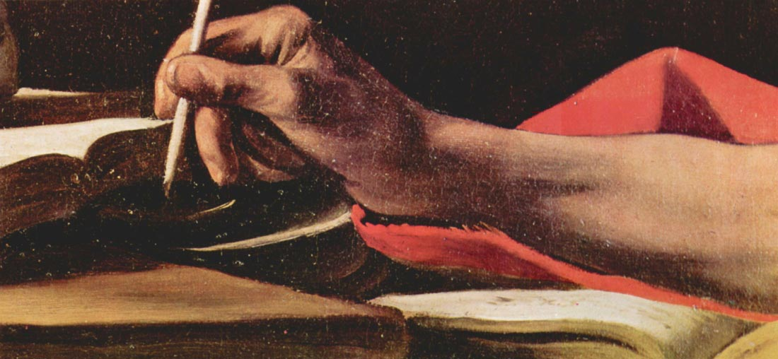 St. Jerome while writing detail - Caravaggio