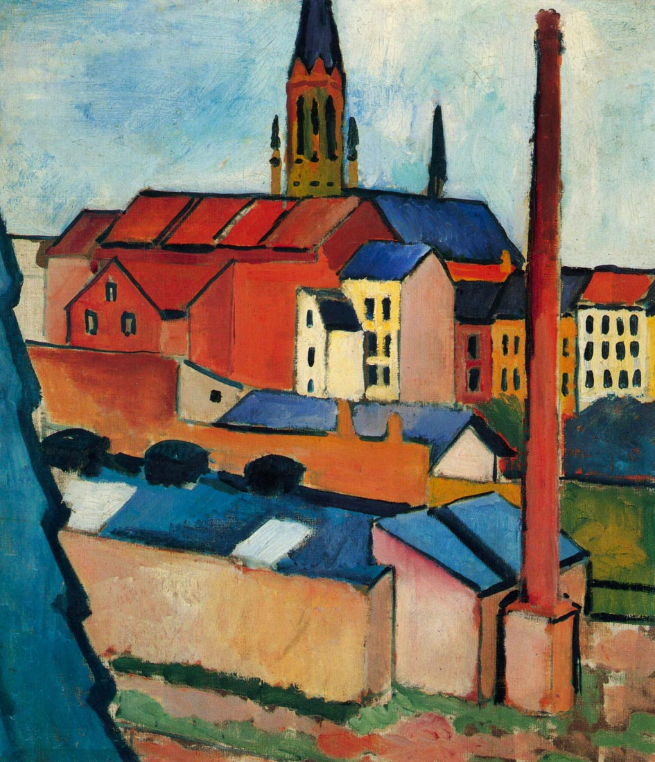 St. Marys Church with houses and chimney - August Macke