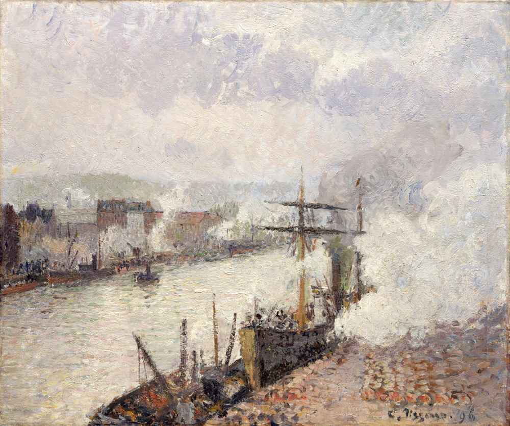 Steamboats in the Port of Rouen - Camille Pissarro