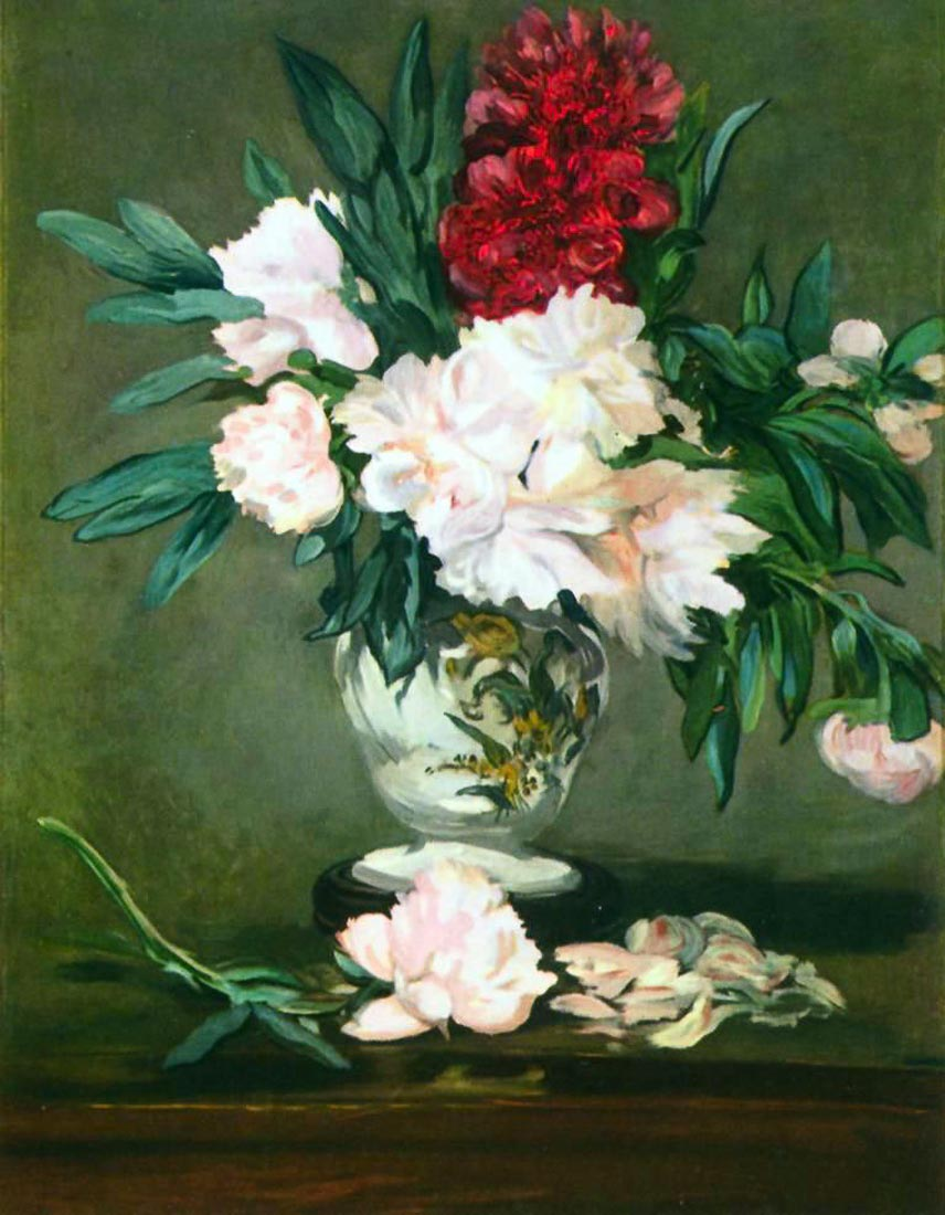 Still Life, Vase with Peonies - Manet