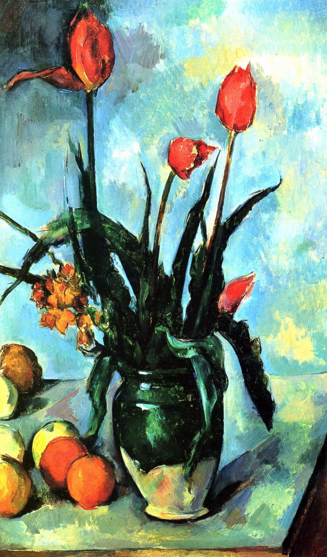 Still Life, vase with Tulips - Cezanne