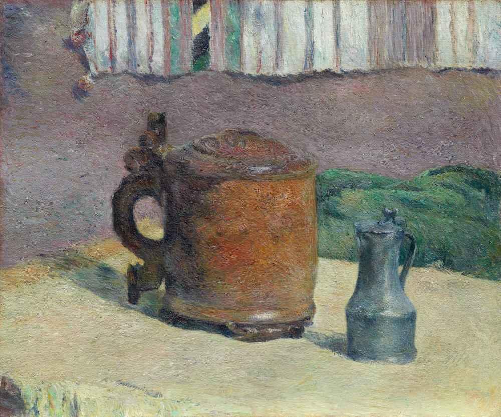 Still Life - Wood Tankard and Metal Pitcher - Paul Gauguin