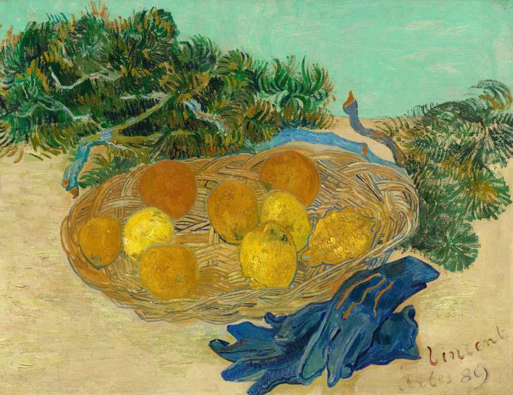 Still Life of Oranges and Lemons with Blue Gloves - Vincent van Gogh
