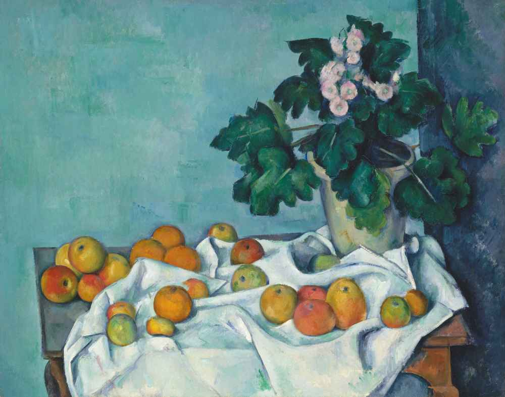 Still Life with Apples and a Pot of Primroses - Paul Cezanne