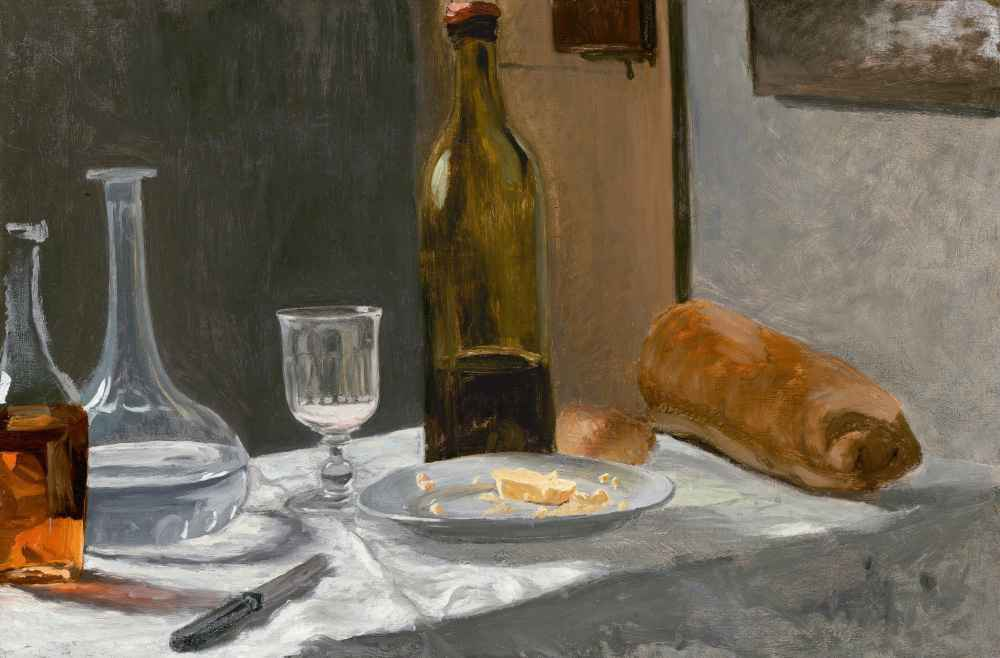 Still Life with Bottle, Carafe, Bread, and Wine - Claude Monet