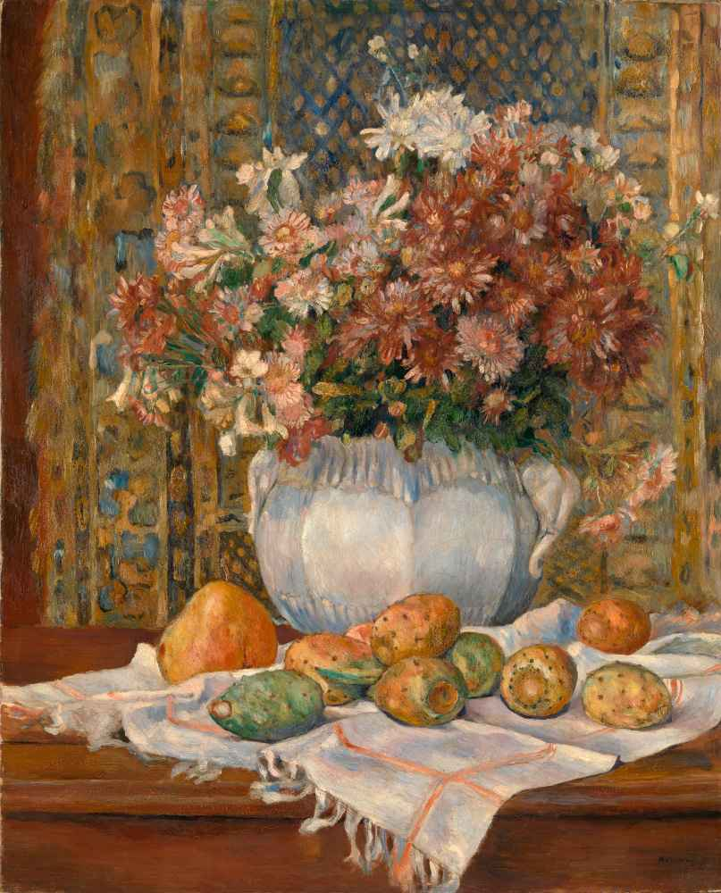 Still Life with Flowers and Prickly Pears - Auguste Renoir