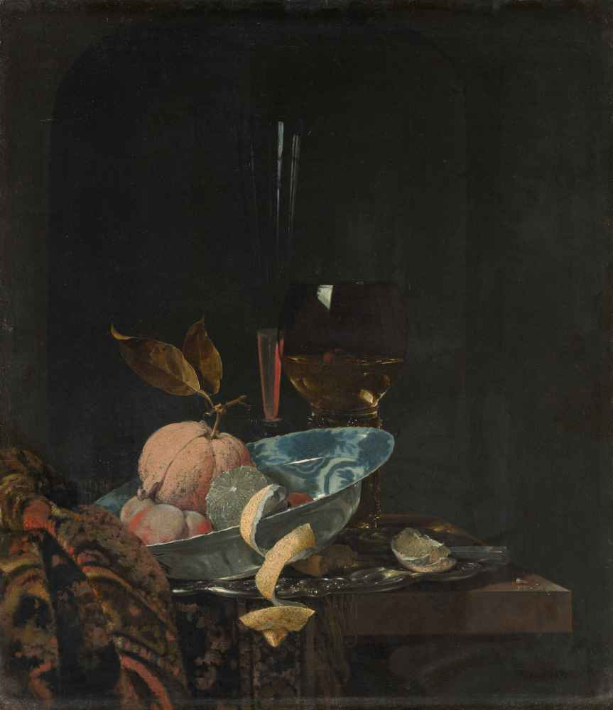 Still Life with Fruit, Glassware, and a Wanli Bowl - Willem Kalf