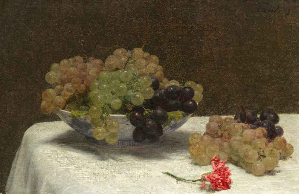 Still Life with Grapes and a Carnation, c. 1880 - Henri Fantin-Latour