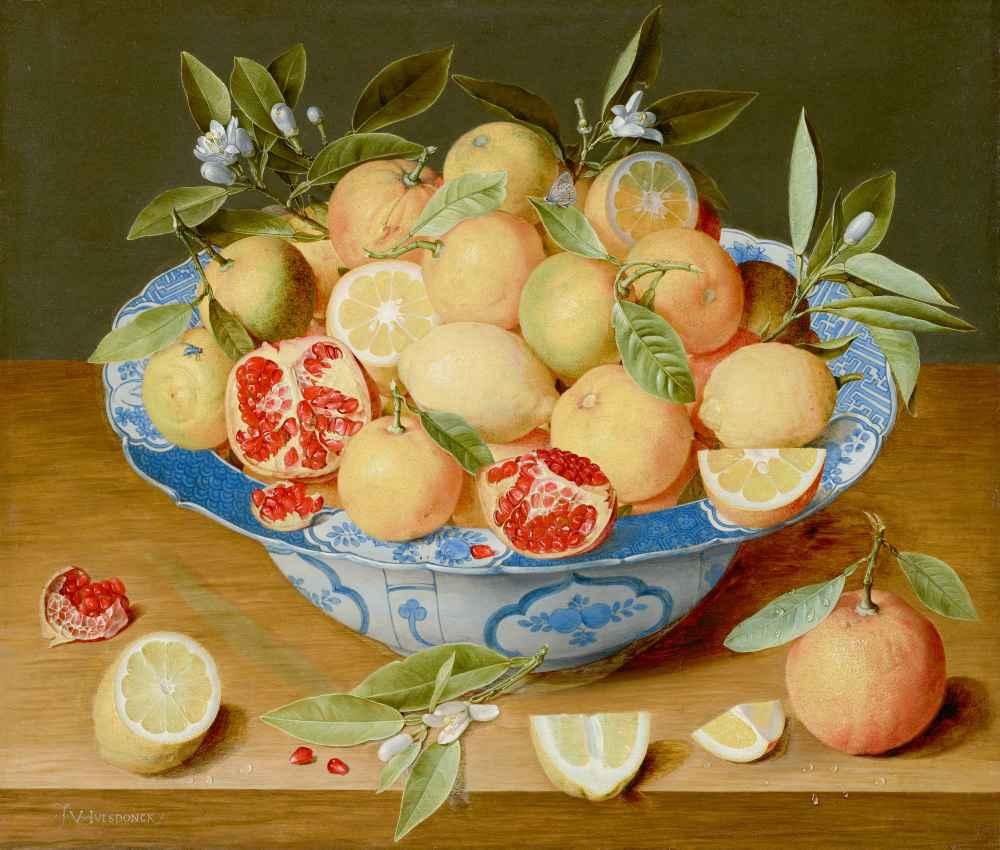 Still Life with Lemons, Oranges, and a Pomegranate - Jacob van Hulsdon