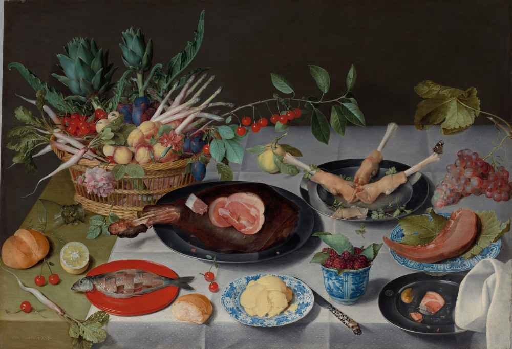 Still Life with Meat, Fish, Vegetables, and Fruit - Jacob van Hulsdonc