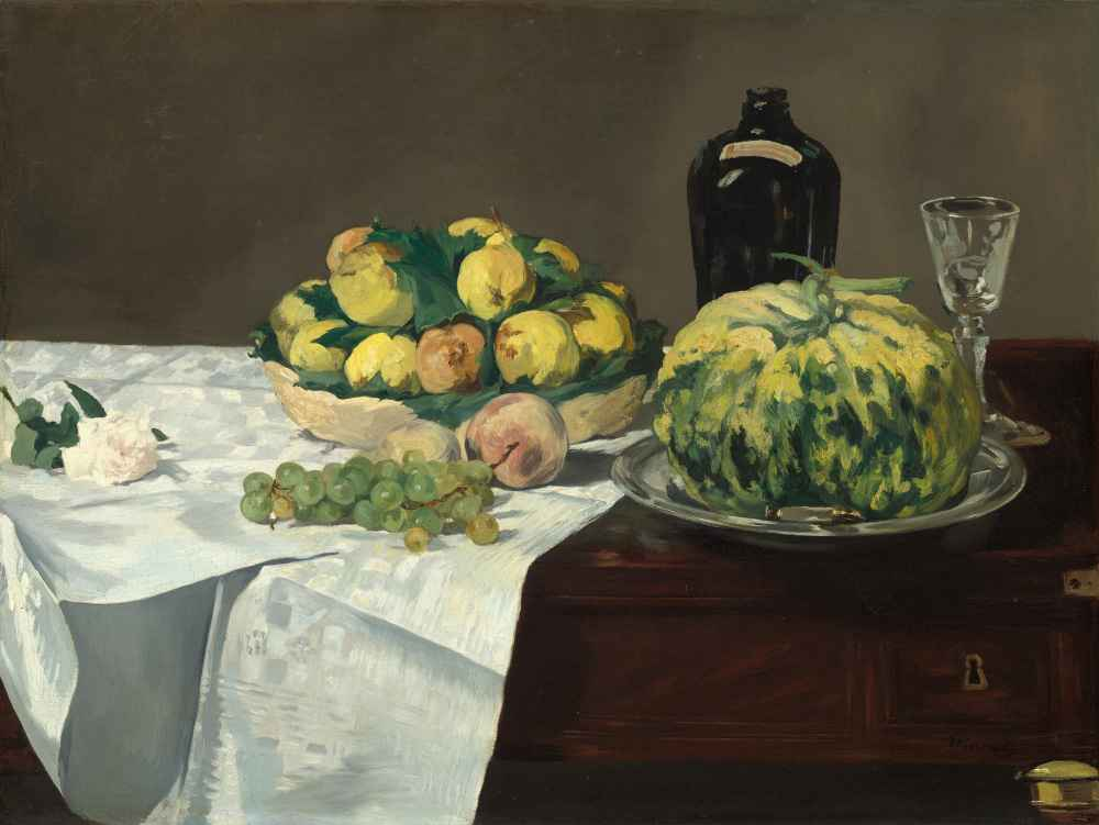 Still Life with Melon and Peaches - Edouard Manet