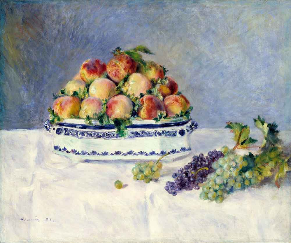 Still Life with Peaches and Grapes - Auguste Renoir