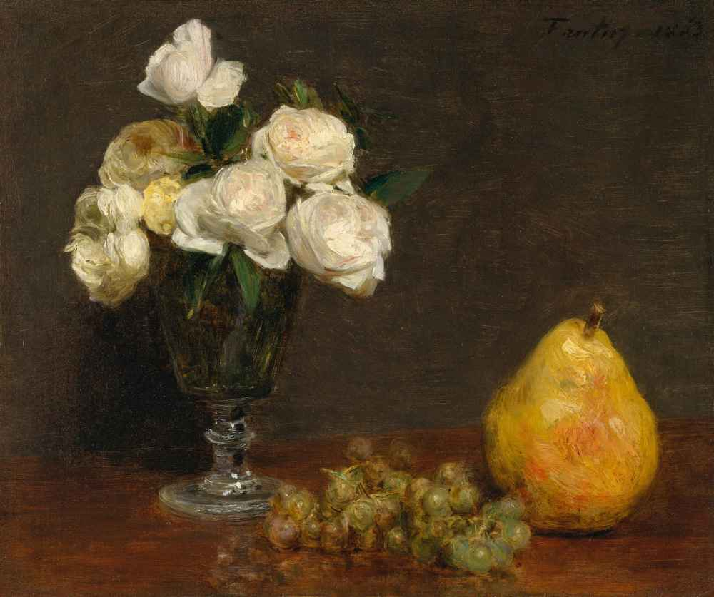 Still Life with Roses and Fruit - Henri Fantin-Latour