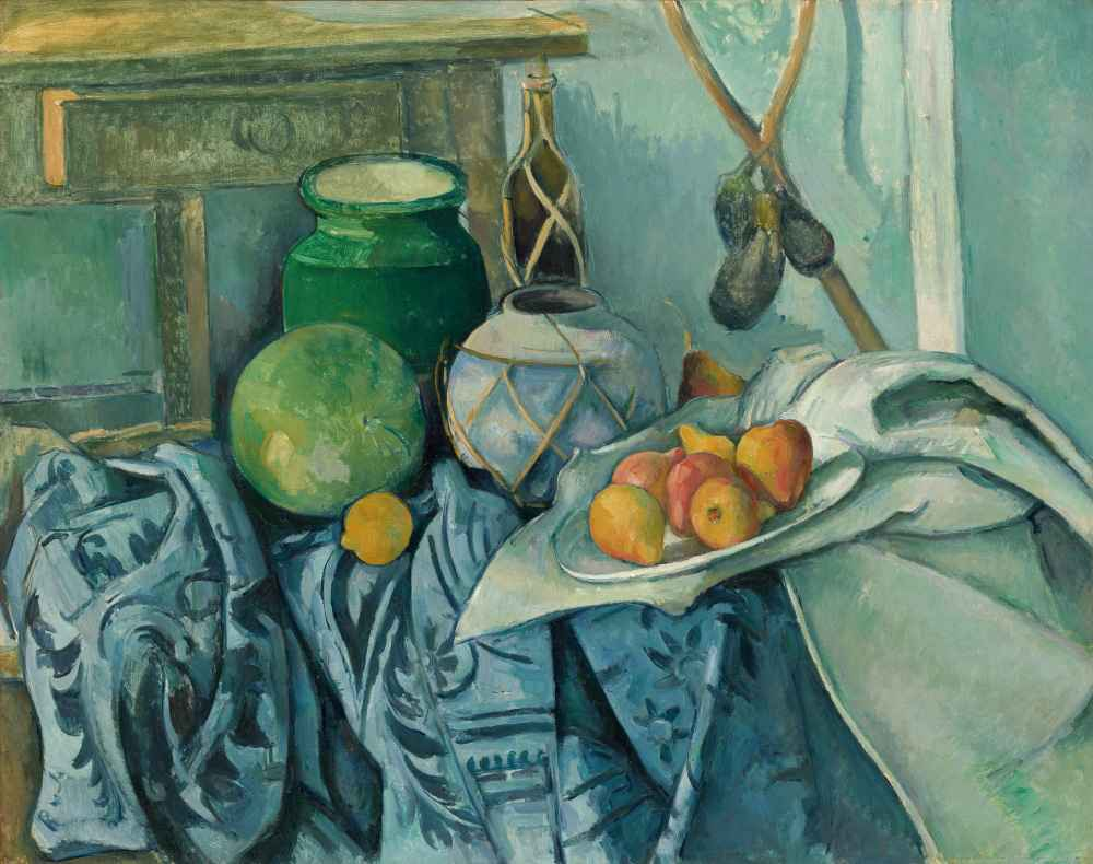 Still Life with a Ginger Jar and Eggplants - Paul Cezanne