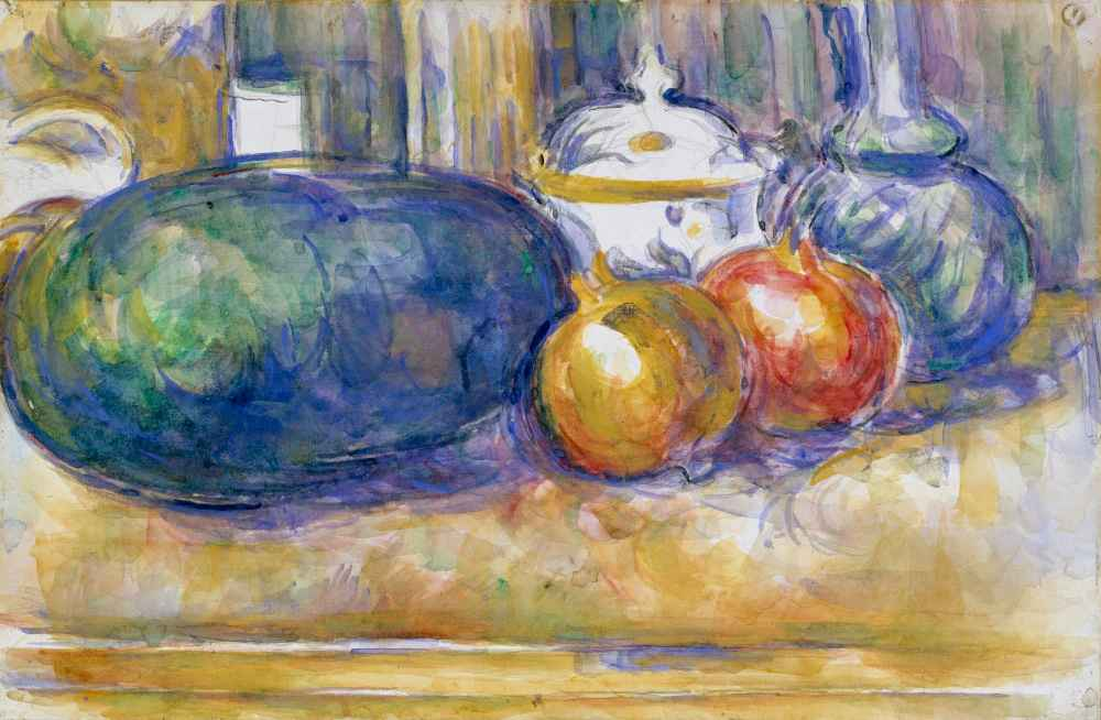 Still-Life with a Watermelon and Pomegranates - Paul Cezanne