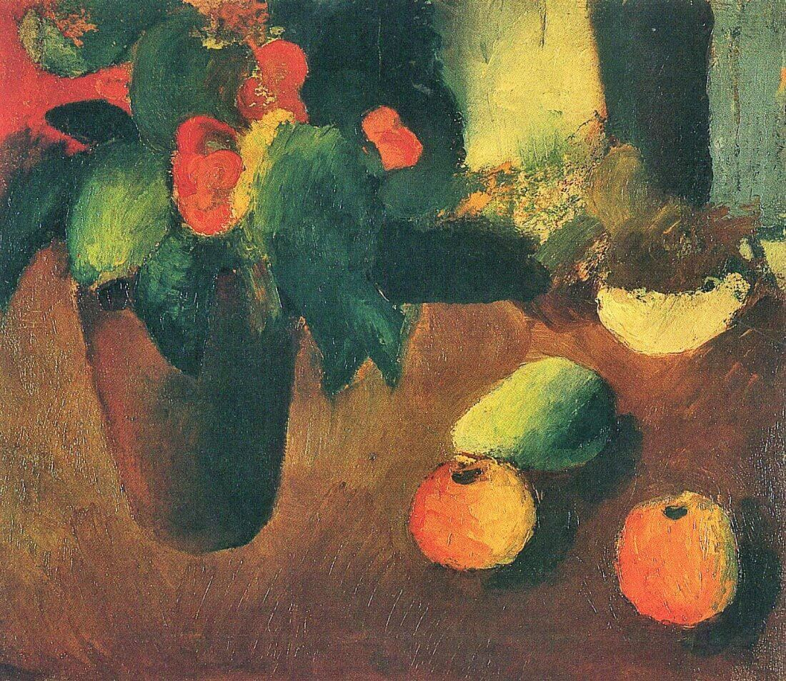 Still Life with begonia, apples and pear - August Macke