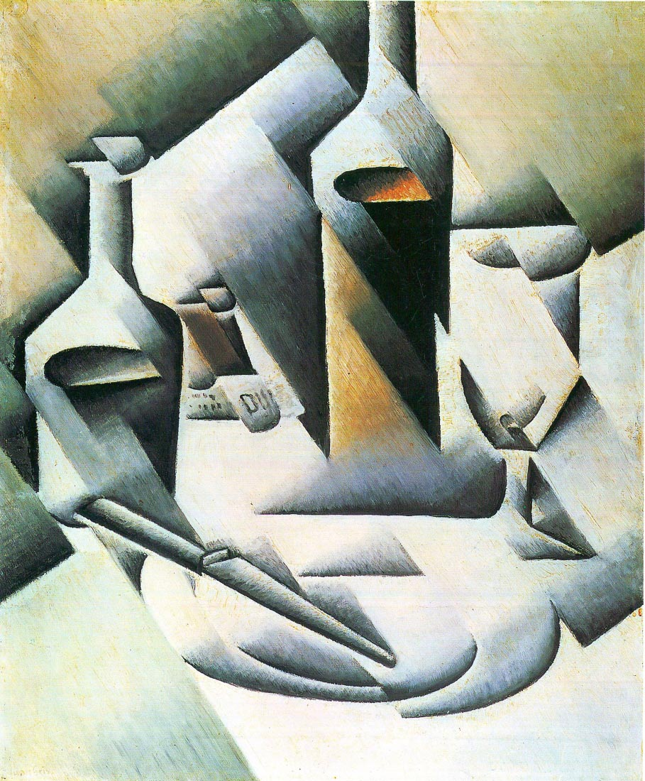 Still Life with bottles and knives - Juan Gris