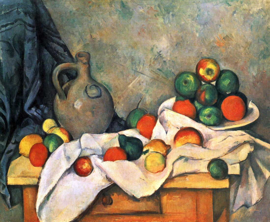 Still life, drapery, pitcher and fruit bowl - Cezanne