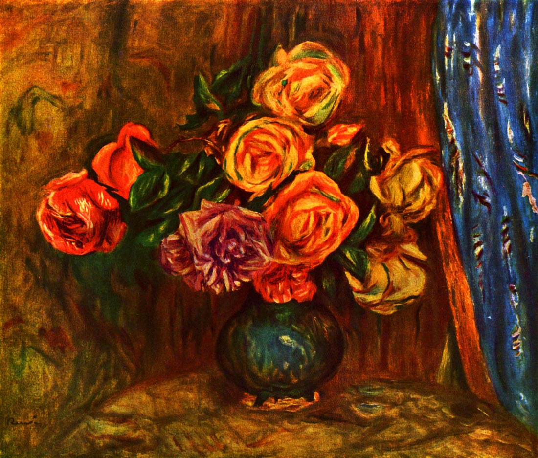 Still life roses before a blue curtain - Renoir