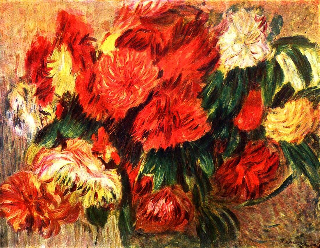 Still life with Chrysanthemums - Renoir