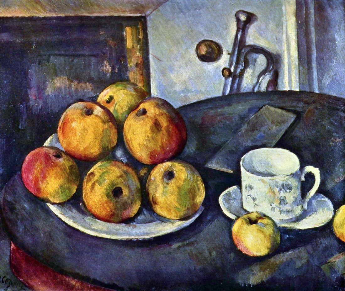 Still life with a bottle and apple cart - Cezanne