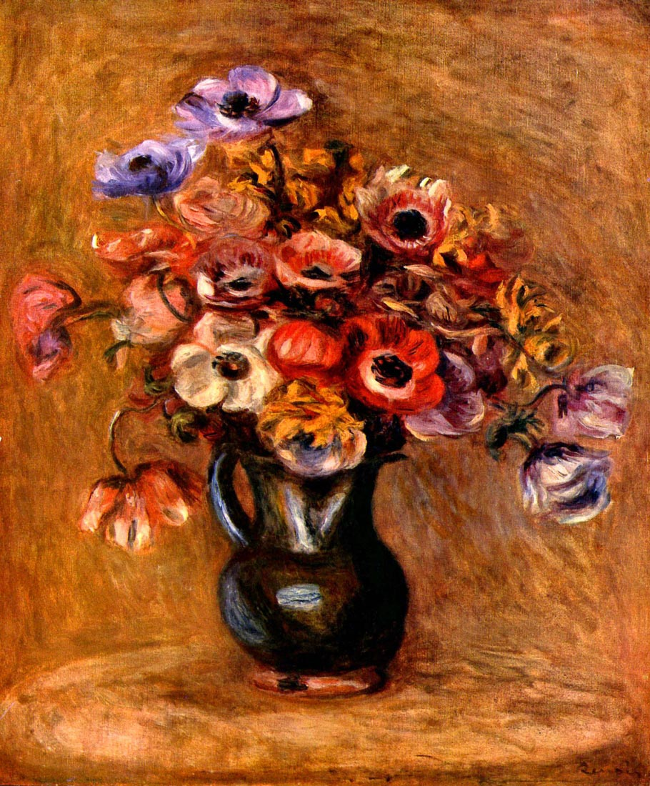 Still life with anemones - Renoir