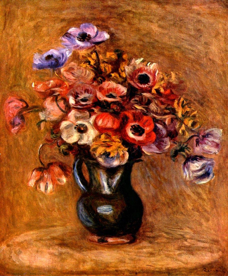 Still life with anemones - Renoir