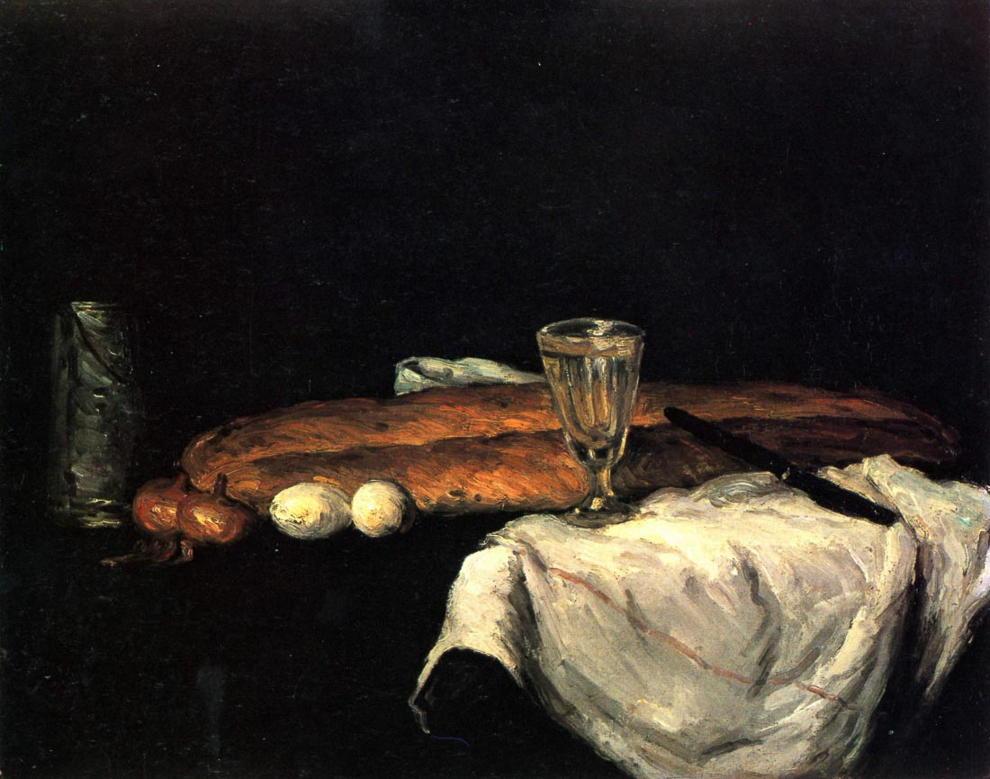 Still life with bread and eggs - Cezanne