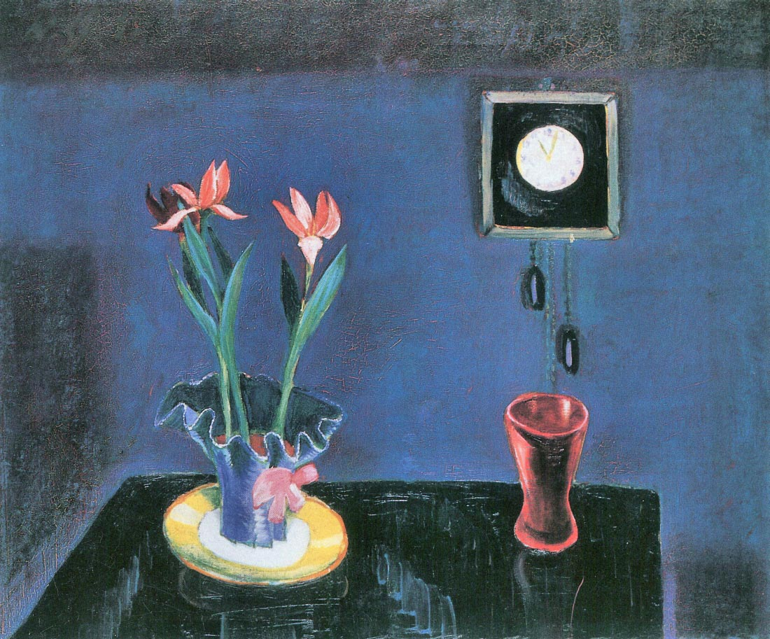 Still life with clock and tulip pot - Walter Gramatte