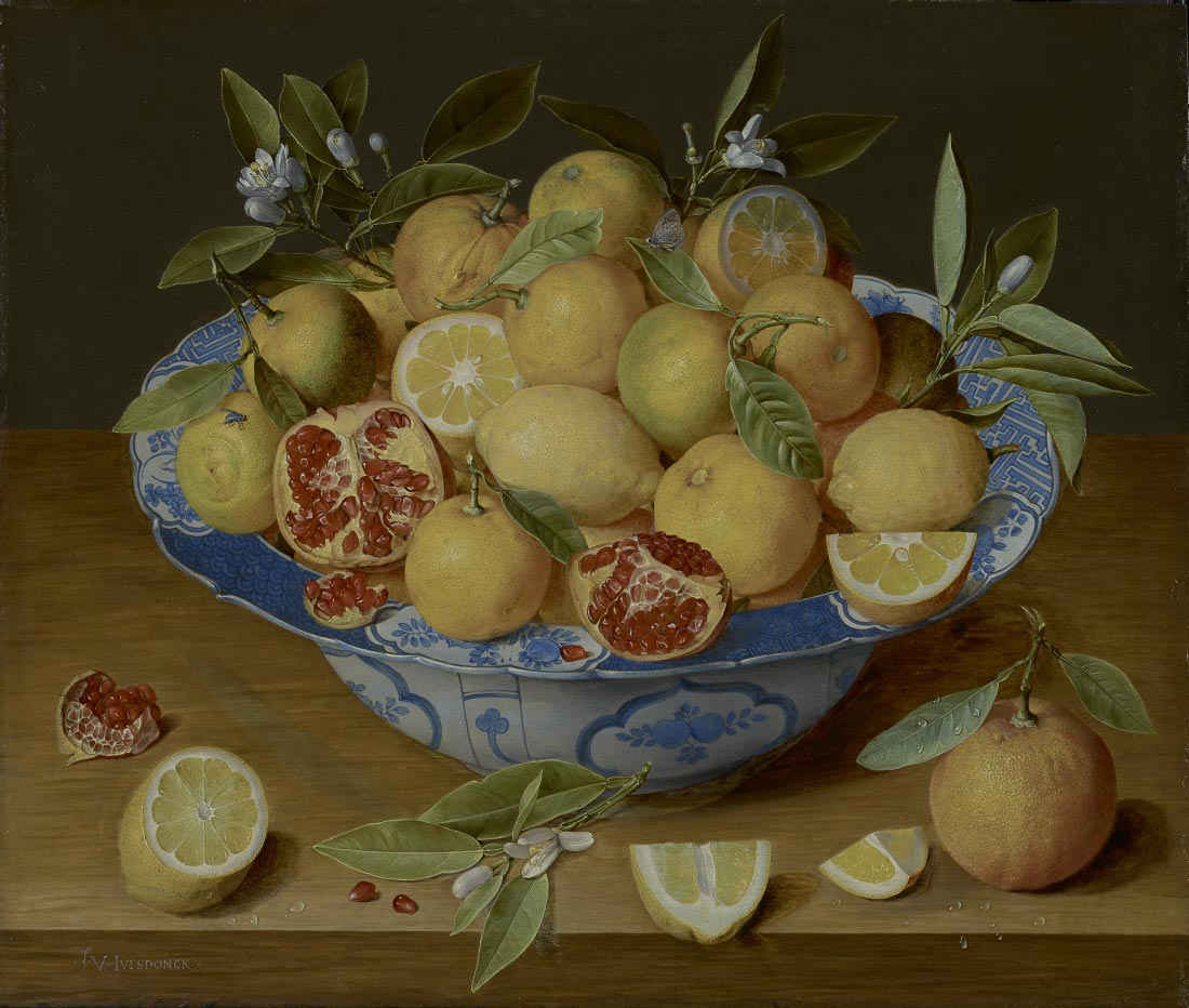 Still life with lemons oranges and a pomegranate - Jacob van Hulsdonck