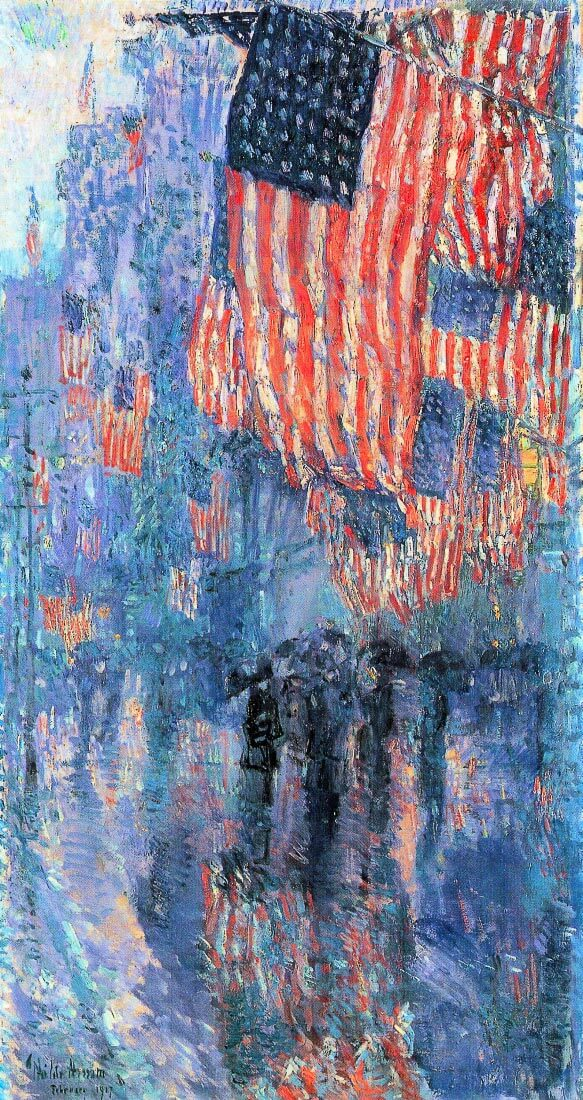 Street in the rain - Hassam