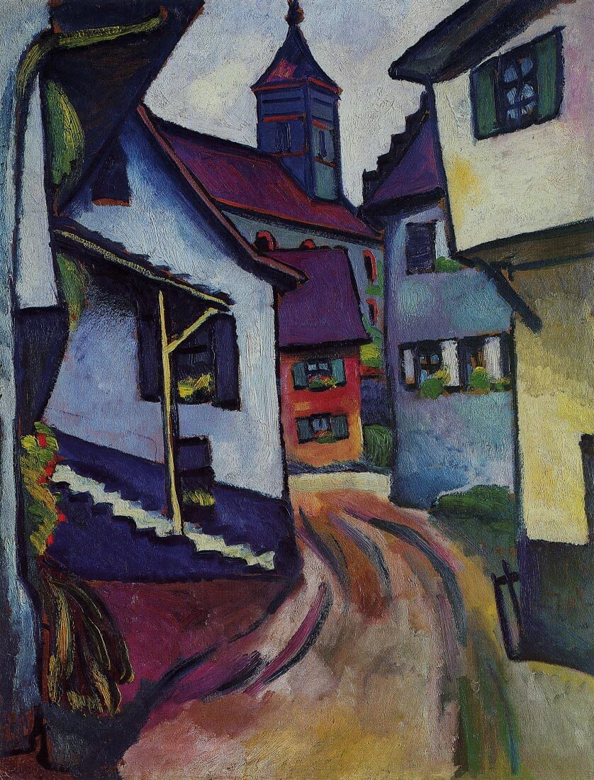 Street with a church in Kandern - August Macke