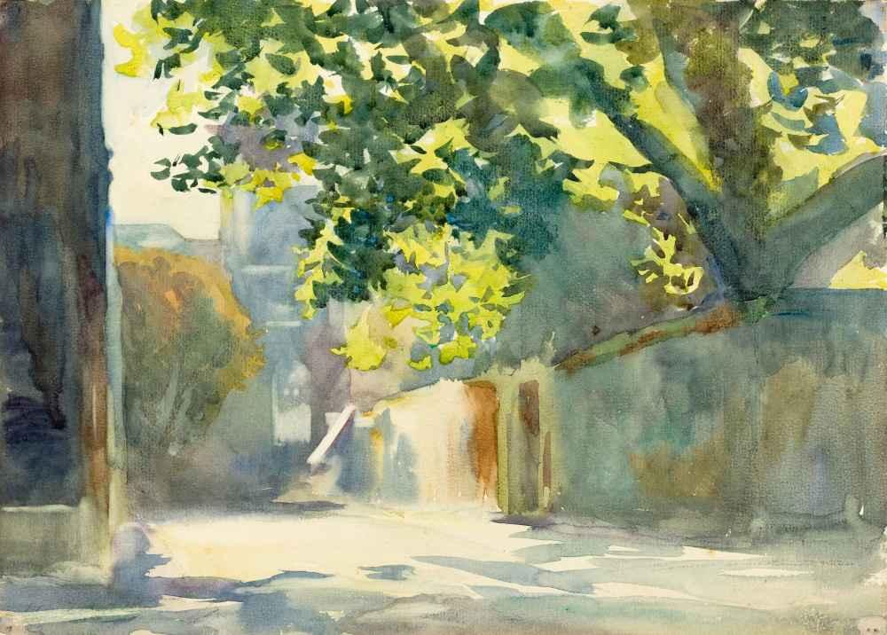 Sunlit Wall Under a Tree - John Singer Sargent