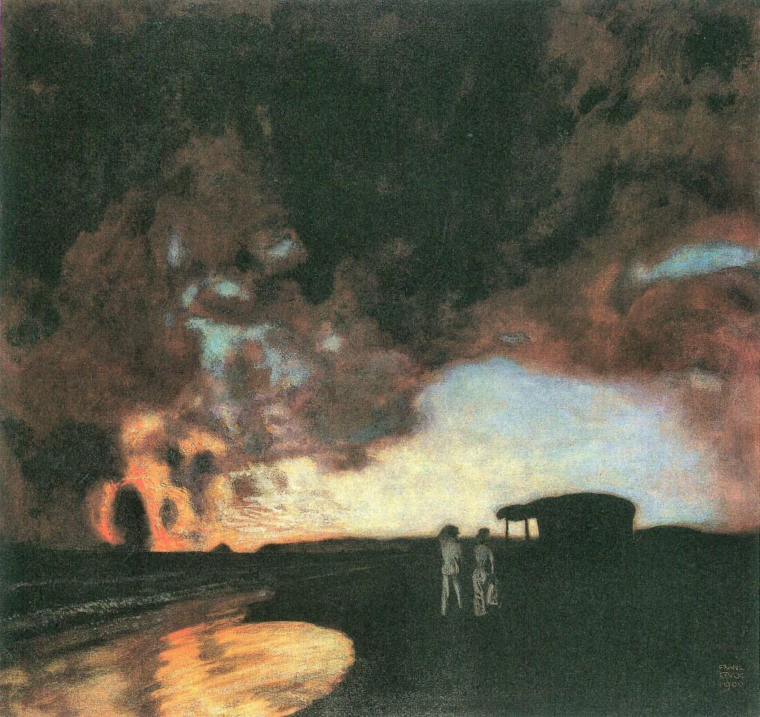 Sunset at the sea - Franz von Stuck