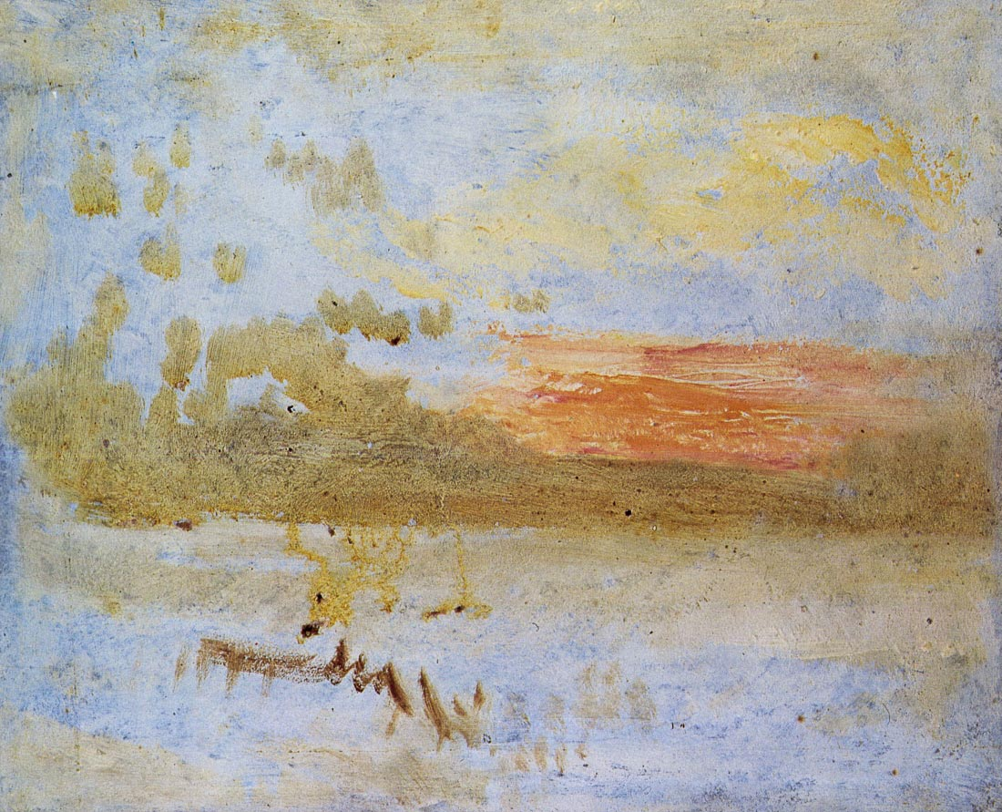 Sunset seen from a beach with breakwater - Joseph Mallord Turner