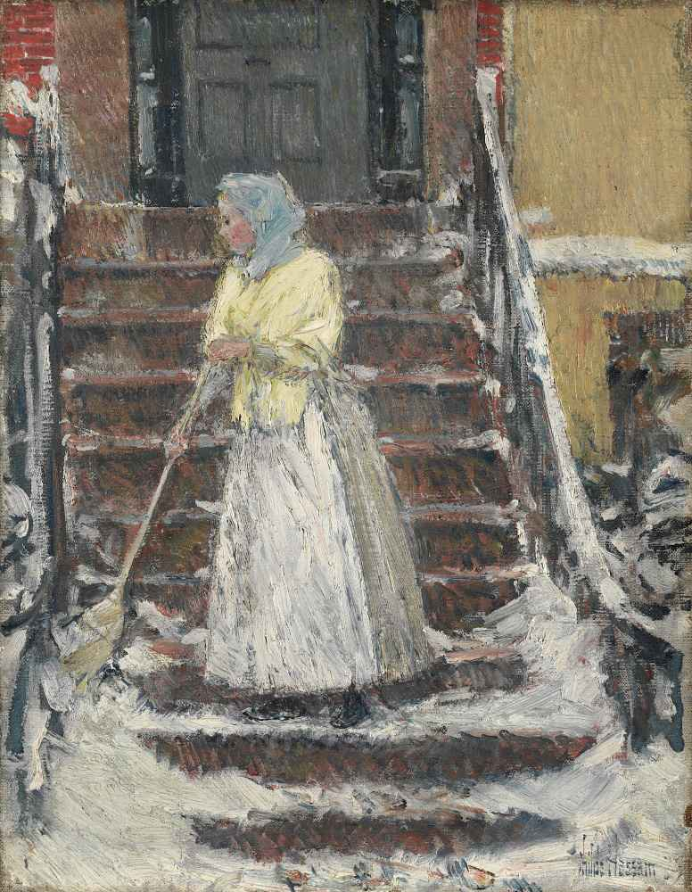 Sweeping Snow - Childe Hassam