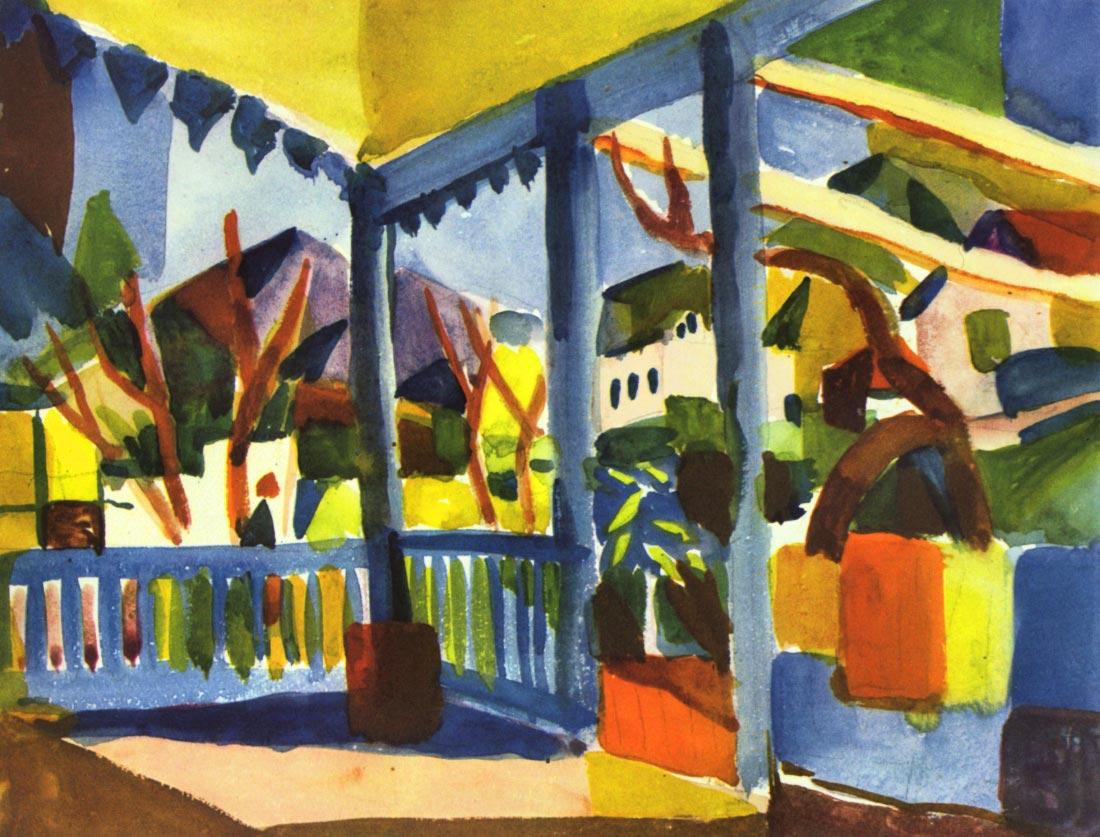 Terrace of the villa in St. Germain - August Macke