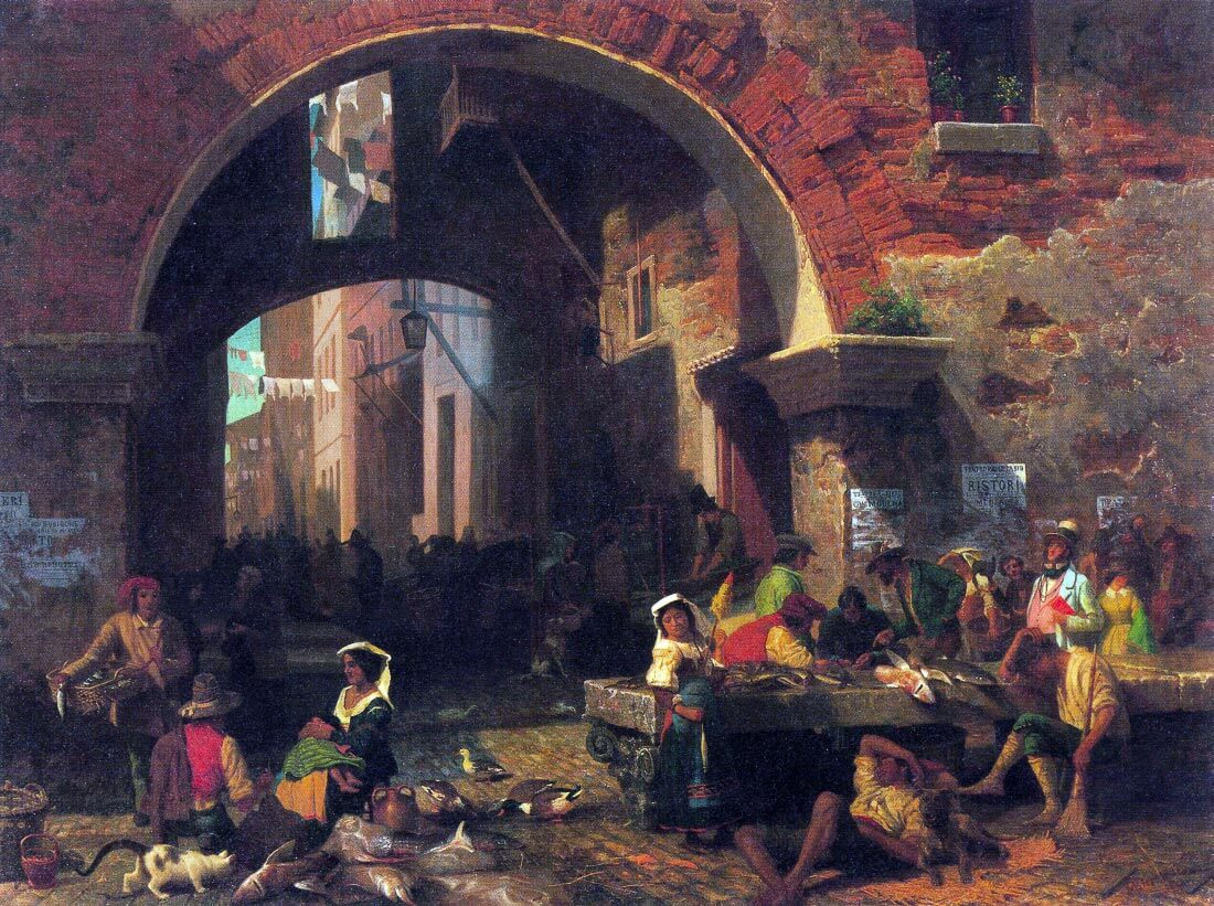 The Arc of Octavius, Roman Fish market - Bierstadt