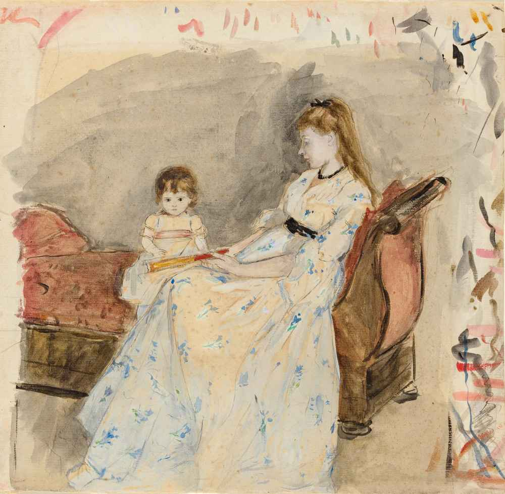 The Artists Sister, Edma, with Her Daughter, Jeanne, 1872 - Berthe Mor