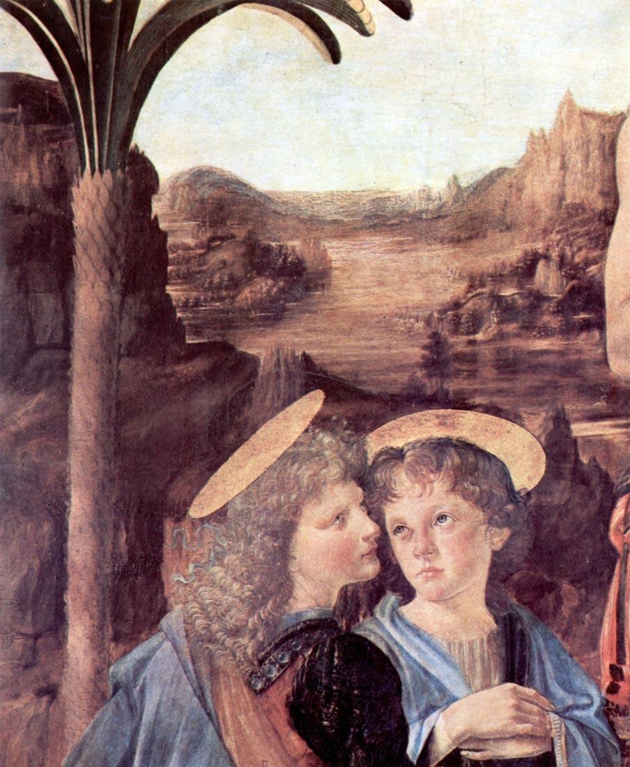 The Baptism of Christ detail - Da Vinci